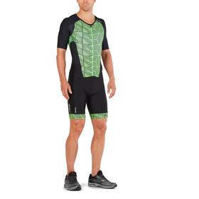 2XU Perform Strój triathlonowy na zamek błyskawiczny Mężczyźni, black/geo neo green